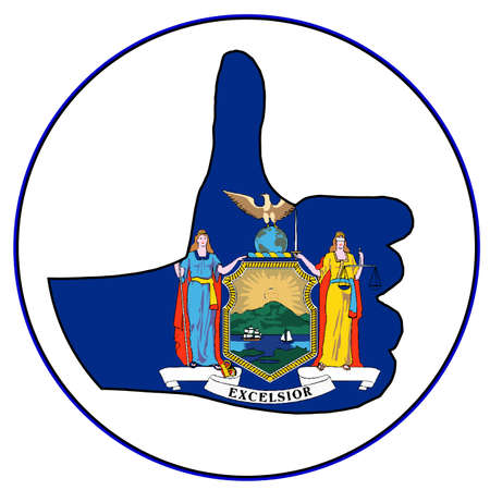 New York State Flag hand giving the thumbs up sign all over a white background Illustration