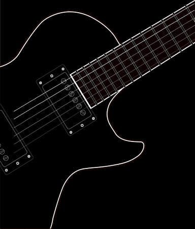 electrics: Close up of the definitive rock and roll guitar in black and white