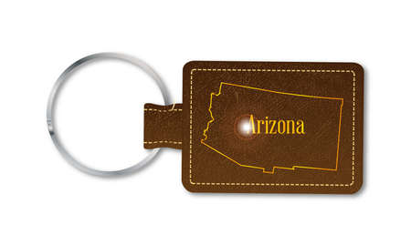 A brown leather key fob and ring over a white background with the text Arizona
