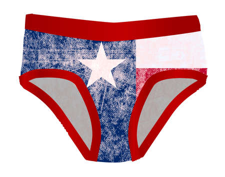 texan: A pair of faded red Y front underpants with the Texan flag.