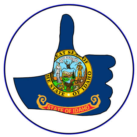 all right: Idaho Flag hand giving the thumbs up sign all over a white background
