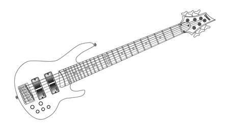 progressive art: A generic six string wooden body bass guitar