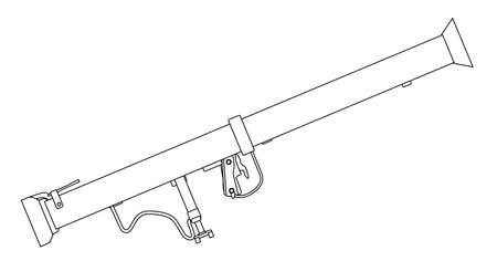 stovepipe: A typical bazooka anti tank weapon isolated on a white background