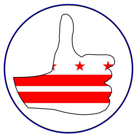 washington dc: Washington DC Flag hand giving the thumbs up sign all over a white background