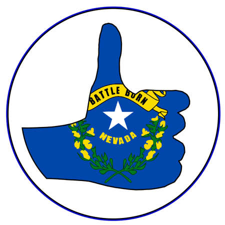 all right: Nevada Flag hand giving the thumbs up sign all over a white background Illustration