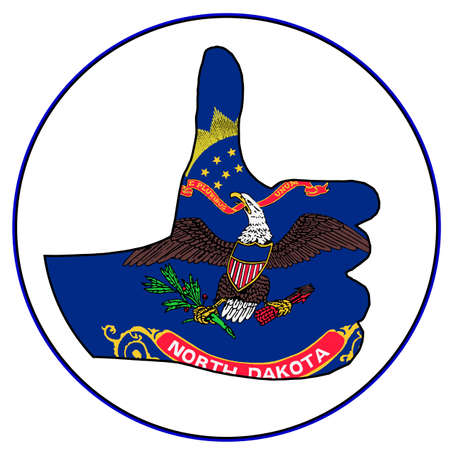 North Dakota Flag hand giving the thumbs up sign all over a white background