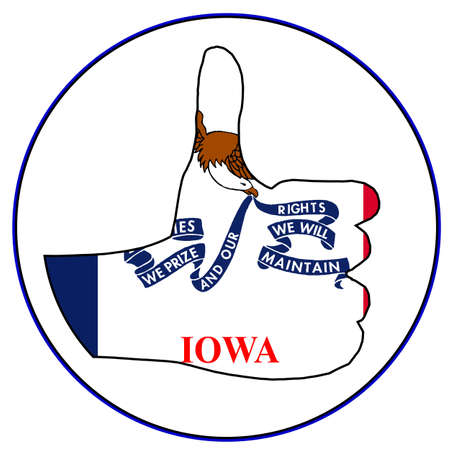 all right: Iowa Flag hand giving the thumbs up sign all over a white background