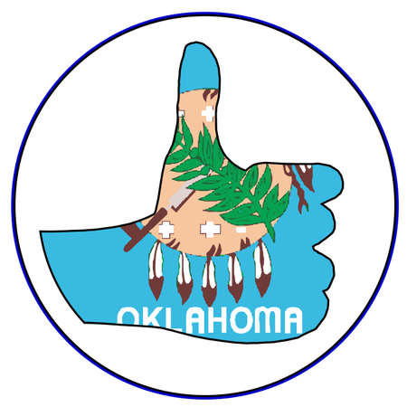 all ok: Oklahoma Flag hand giving the thumbs up sign all over a white background Illustration