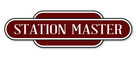 name plate: A station master station name plate over a white background