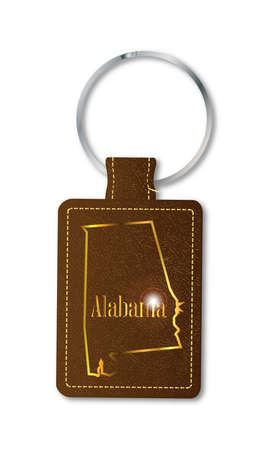A brown leather key fob and ring over a white background with the text Alabama