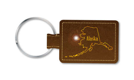 A brown leather key fob and ring over a white background with the text Alaska Illustration