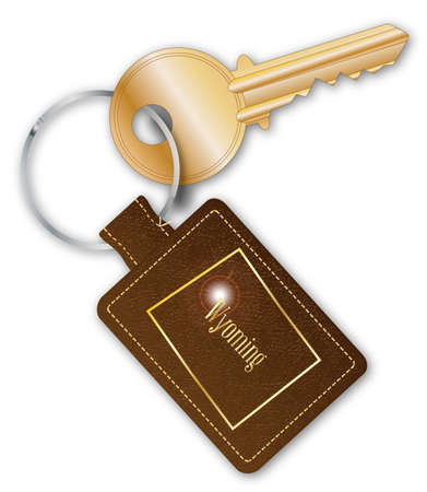 A brown leather key fob and ring with a brass latch key with the text Wyoming