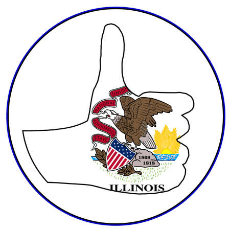 all right: Illinois Flag hand giving the thumbs up sign all over a white background