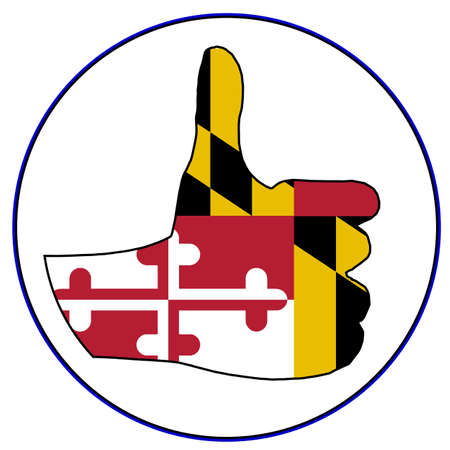 maryland flag: Maryland Flag hand giving the thumbs up sign all over a white background