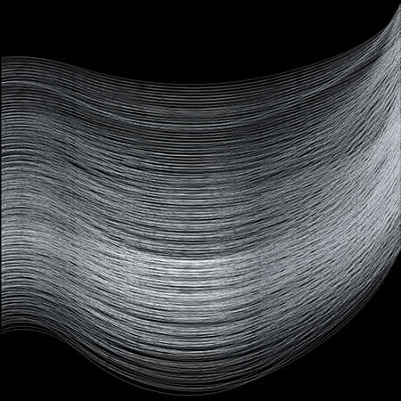 spun: Fine silver thread over a black background