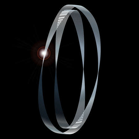naught: The number zero depicted in fine silver thread over a black background