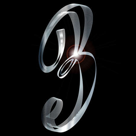 fine silver: The number three depicted in fine silver thread over a black background