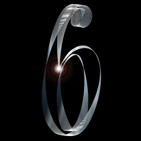 gleaming: The number six depicted in fine silver thread over a black background Illustration
