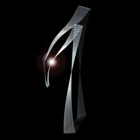 fine silver: The number seven depicted in fine silver thread over a black background