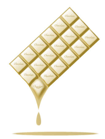 A typical bar of white milk Chocolate maelting as a background