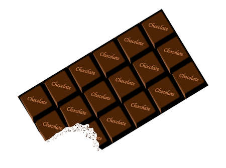 bite: A typical bar of dark Chocolate with bite as a background Illustration