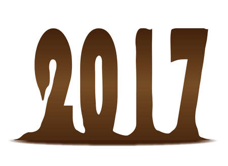 melting chocolate: The new years date 2017 in melting chocolate over a white background