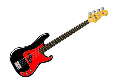 Een generiek fretloze bas gitaar geïsoleerd op een witte achtergrond.