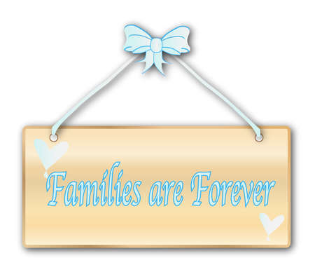 mormon: Families Are Forever plaque in woodgrain with light blue ribbon and bow over a white background with love cartoon hearts
