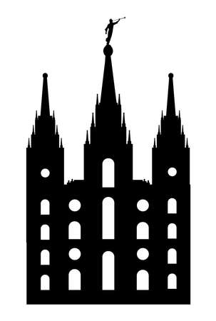 Mormon style temple drawing is silhouette over a white background Illustration