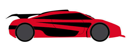 accelerating: A fast car in red and isolated on a white backgound
