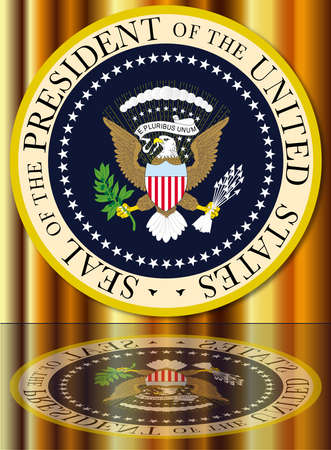 depiction: A depiction of the seal of the president of the United States of America with reflection