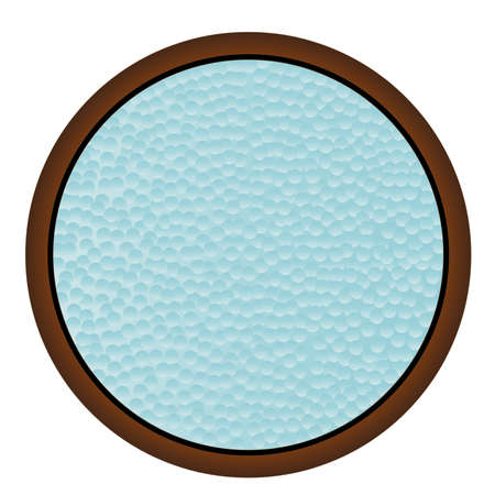 hammered: A round window with hammered bathroom glass Illustration