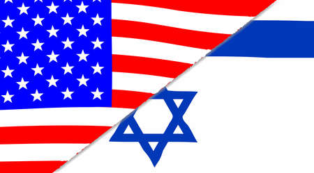 sectioned: The Jewish and American flags sectioned together