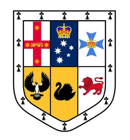 escutcheon: The coat of arms escutcheon shield of the Australian coat of arms Illustration