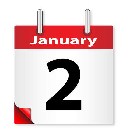 2nd: A calender date offering the 2nd January Illustration