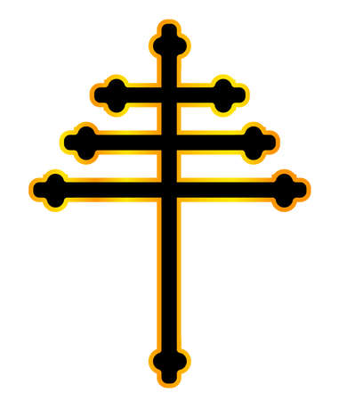 A Christian Maronite cross in black and gold over a white background Illustration