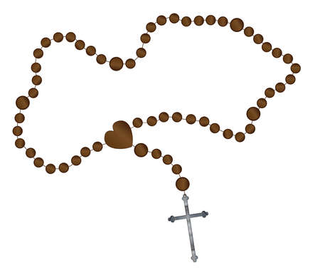 artifact: Catholic rosary beads with a silver cross all over a white background