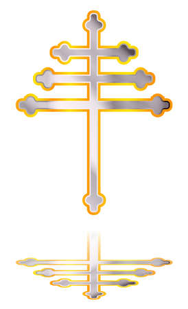 A Christian Maronite cross in silver and gold over a white background