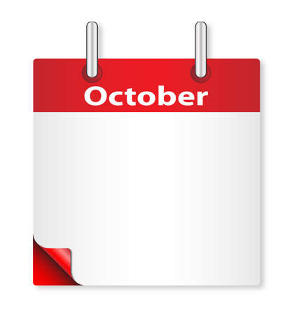october: A calender date offering a blank October page over white Illustration