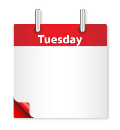 tuesday: A calender date offering a blank Tuesday page over white