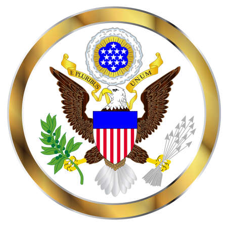 great seal: A depiction of the Great Seal of America over a white background Illustration