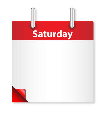 saturday: A calender date offering a blank Saturday page over white Illustration