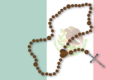 rosary: Flag of the South American country of Mexico with a Catholoc Rosary