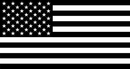 The 'Stars and Stripes' flag of the United States of America in black and white Illustration