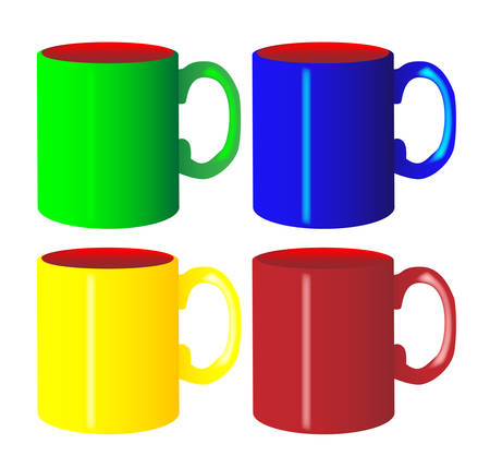 A collection of 4 coloured mugs over a white background