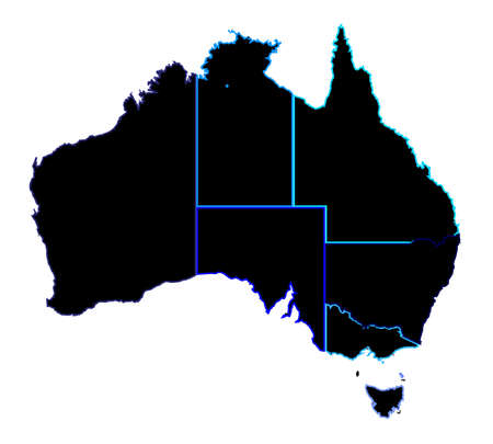 coastline: Silhouette map of the Australian states over a white background