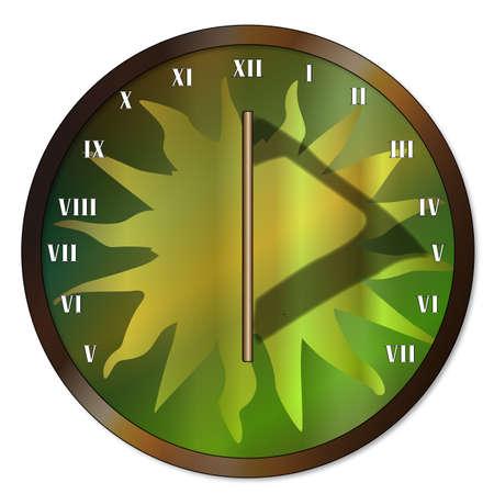 Eine typische altmodische Sonnenuhr Uhr Gesicht über einem weißen Hintergrund