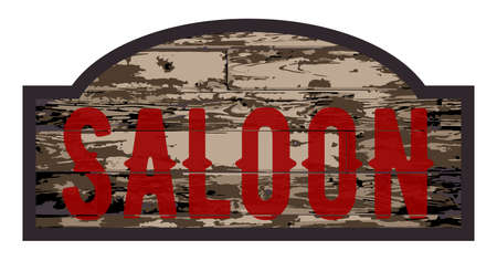 saloon: Old worn stylish wooden saloon sign over a white background