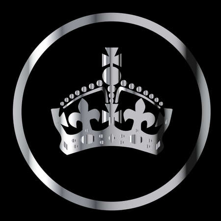 silver circle: Crown in silver circle on a black background