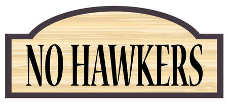 floorboards: No Hawkers store stylish wooden sign over a white background